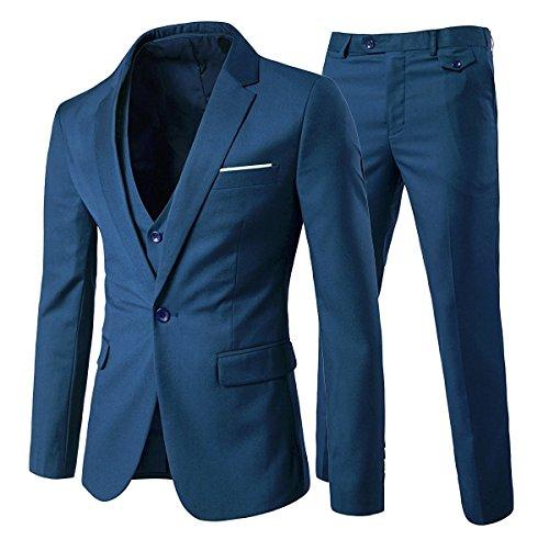 Slim Fit 3-Teilig Business Herrenanzug ein Knopf Smoking,Blau, Gr. L