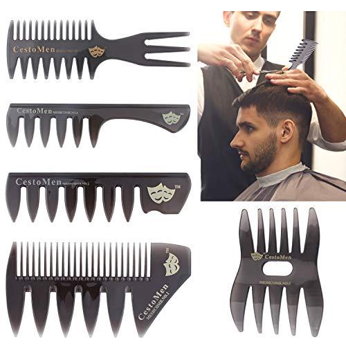 Herren Haar-kämme (Wisolt Kunststoffkamm Kamm Neue 5 STÜCKE Set Haar Kamm Für Männer Haar Styler Einfügen Haar Pick Kamm,Vatertagsgeschenk für Papa)