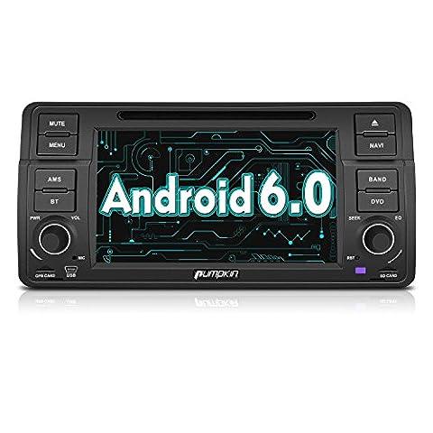 PUMPKIN Android 6.0 Autoradio Moniceiver für BMW 3er E46 318 320 325 330 335 M3 1998-2006 Unterstützt GPS Navigation Bluetooth WLAN 3G OBD2 7 Zoll Touchscreen