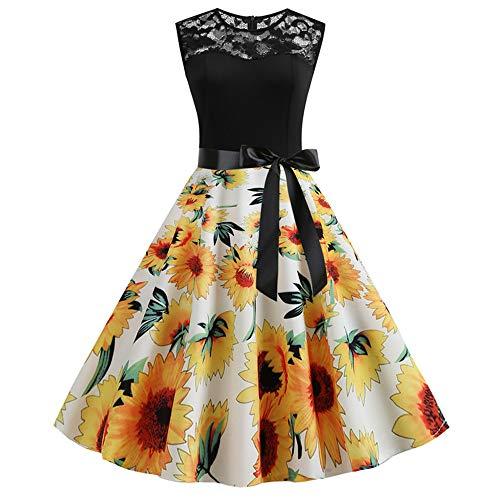Bahoto Heißes Retro-Sommermode-Spitzennaht-Druckkleid (Militär Ball Kleid Kleider)