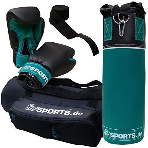 ScSPORTS Box-Set 2. Wahl, für Kinder und Jugendliche, mit Boxhandschuhen, Boxbandagen und Tasche, 5,5 kg, Petrol blau schwarz
