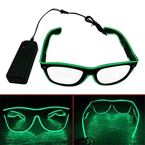BADASS SHARKS EL Wire LED Light Up Shutter Shaped Glasses for Rave Costume Party Leuchtbrille (Grün) (Up Light Rave Spielzeug)