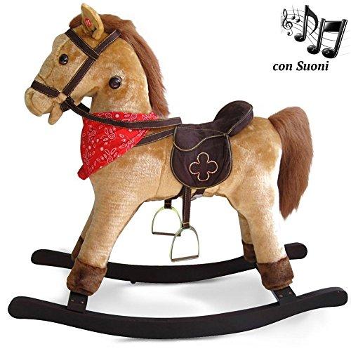 Bakaji cavallo a dondolo per bambini con suoni realistici nitrisce e muove la bocca struttura in legno e tessuto peluche di qualità giochi infanzia (marrone chiaro)
