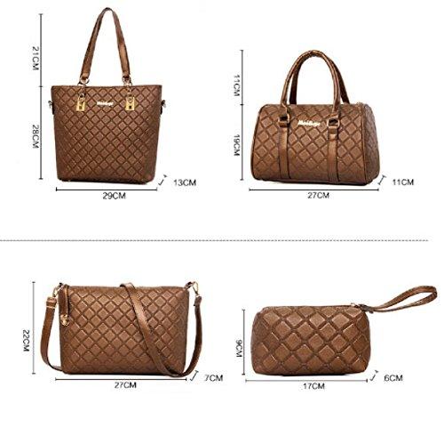Frauen-PU-Leder-Handtaschen-neue Sechsteilige Sätze Mutter-Paket-einfache Art Und Weise Wilde Krokodil-Muster-Schulter-Kuriertasche Gold