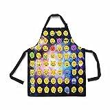 InterestPrint Galaxy Space Nebula Star Emoji Schürze für Damen Herren Mädchen Koch mit Taschen, Smiley Gesicht Universum Unisex Verstellbare Latzschürze Küche zum Kochen Backen Malerei
