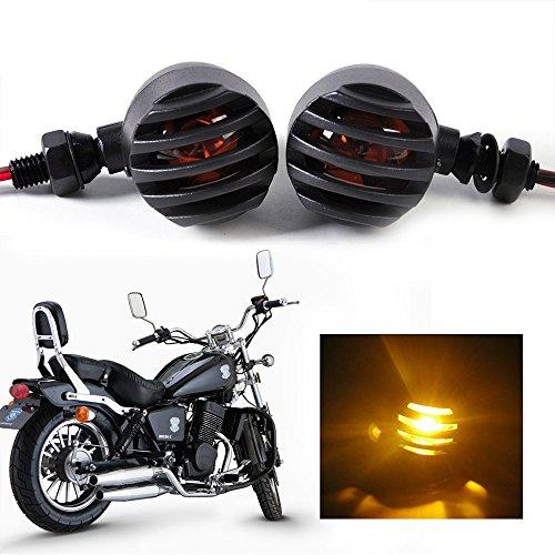 ECLEAR Universelle Motorrad-Blinker (2 Stück) Micro Mini Blinkerleuchten Schwarz Heavy Duty Indikatoren Gelb Licht mit Vintage Gitter 3 Draht für Harley Bobber Chopper Cruiser Custom