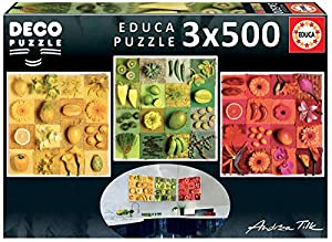 Educa Borrás-Exotic Fruits and Flowers, Andrea Tilk Deco Puzzle (18454)