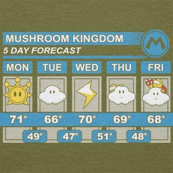 TEXLAB - Mushroom Kingdom Weather Forecast - Herren T-Shirt Oliv
