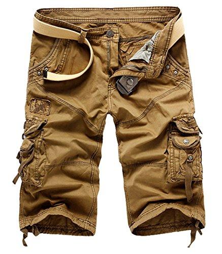 Panegy Herren Jungen Causal Baumwolle Cargo Shorts Cargohose 3/4 Pants mit Gürtel - Schwarz Khaki