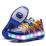 Roller Skates Due Ruote Full Circle con Luci A LED di Ricarica Ruote Luminose Pattini A Rotelle,Blu,28