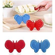 Veewon 4piezas mariposa forma muy resistente al calor manopla de silicona guantes manopla horno Mini cocina y horno Pinch Grips Set Protección contra el calor, Color al azar