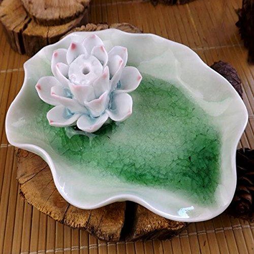 Easyshop singolo foro luce verde crack ceramica Lotus bruciatore di incenso Home Decor