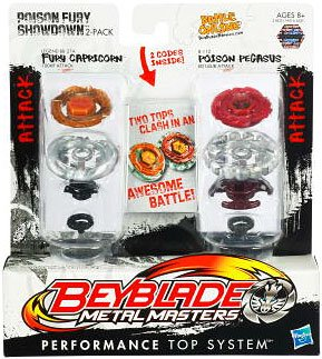 Beyblade Metal Masters - Attack Attack Faceoff 2-Pack Poison Fury Showdown [Fury Capricorn vs. Poison Pegasus] (Beyblade Metal Fury Spielzeug Pegasus)