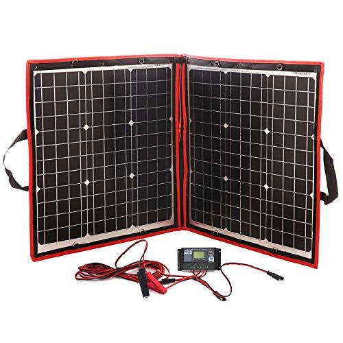 DOKIO Kit de Panel Solar monocristalino Resistente al Agua, portátil, Plegable, Flexible, para Control de Maleta, Cargador para batería de 12 V, Salida USB, Cualquier Superficie Plana