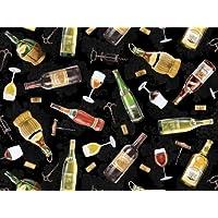 Fat Quarter paese di vino, colore: nero, 100% cotone, tessuto di supporto per Quilting e bicchieri da vino