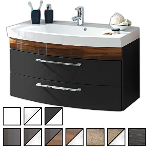 Waschtisch Belum Anthrazit-Walnuss (Waschbecken mit Waschbeckenunterschrank) Breite ca. 100 cm, für Gäste-WC, Form recht-eckig, hängend, Front leicht geschwungen, 2 Schubladen breit, hochglanz -