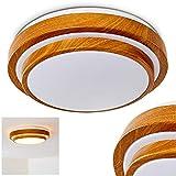 Designer Deckenleuchte in moderner Holz-Optik – Badezimmer-Lampe Sora – warmweißes Deckenlicht 1380 Lumen – 18 Watt – 3000 Kelvin – runde, 1-flammige Zimmerleuchte auch für Küche, Flur, Wohnzimmer