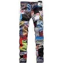 LAKELOOK Herren Junioren Straight-Leg Bunt Patchwork Betrübt Dünn Jeanshose 7716de543c