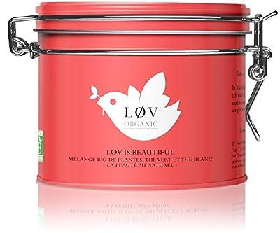 Løv Organic - Thé bio Løv is Beautiful - Mélange aromatisé de thés, rooibos et fruits jaunes - Boîte métal 100g - Environ 40 tasses - Mélange issu de l'Agriculture Biologique
