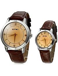 Relojes Hermosos, Clásico del cuero del dial del eyki Pareja banda de cuarzo reloj de pulsera analógico (colores surtidos) ( Color : Black/White , Género : Para Hombre )