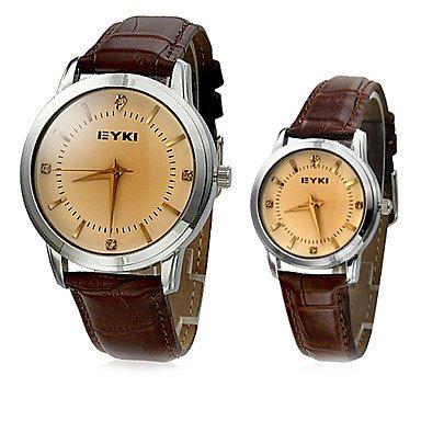 Schöne Uhren, EYKI Paar klassisch Dial-Leder-Band-Armbanduhr Quarz Analog (verschiedene Farben) ( Farbe : Kaki , Geschlecht : Für Manner )
