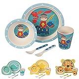 Kaufdichgruen - Set da cucina in bambù per bambini da 5 pezzi motivo: Fata Cavaliere I Servizio da tavola per bambini Ciotola Muesli Bicchiere Piatti Bambini I Riciclaggio materiale senza BPA