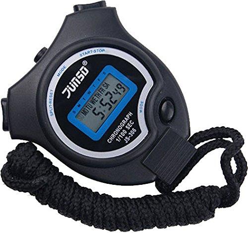 Stoppuhr,BizoeRade Digitale Stoppuhr Timer Handheld Digital Stoppuhr für Sports Training , Schwarz,Zweisprachige Broschüre