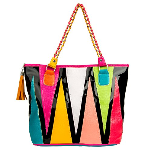 VanGoddy Harmony Serie Moda banda dell'arcobaleno Tote Borsetta Top Handle Bag spalla Shopper (Stile 105) Stile 101