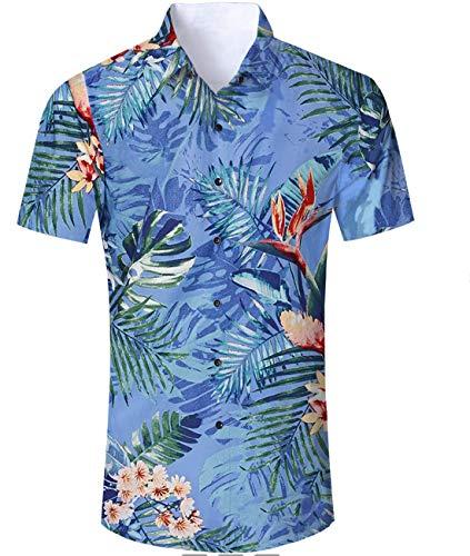 Idgreatim Funky Hawaiian Hemden Shirts für Männer Kurzarm Button Down Beach Palm T Hemden Shirt Oktoberfest Hemd Herren