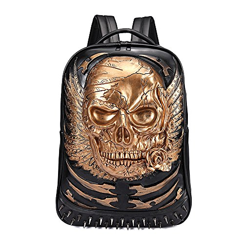 antaina Gold 3D Skull Rose geprägte Rucksack Rivet personalisierte Punk PU Laptop Schultasche Bookbag