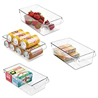mDesign Set of 4 Storage Tray - Large Box with Handle - Ideal as a Kitchen Tray in The Kitchen Cupboards or as Fridge Boxes - Clear