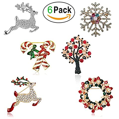 Christmas Brooch Pin Set Women - Pack of 6pcs Cute Crystal Diamond Enamel Christmas Jewelry Gift Including Red Crystal Reindeer White Reindeer Candy Cane Christmas Tree Wreath Snowflake Pins Set (Red)