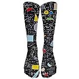 fringcoook Back To School Algebra Black Knee High Graduated Compression Socks For Women And Men - Best Medical, Nursing, Travel & Flight Socks - Running & Fitness 19.7 inch