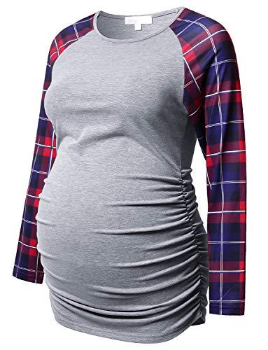 Umstandsshirt langärmelig Basic Top Rüschen Seiten figurbetont T-Shirt für Schwangere Frauen - - Mittel - Seite Rüschen