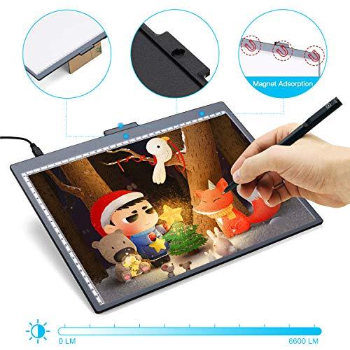 Elfeland Licht Pad A4 LED Leuchttisch Leuchtplatte Helligkeit Dimmbare Magnetische Light Pad Tragbare Lichtkasten mit Abziehbarer Halterung USB für Zeichnen Animation Malen Schablonieren Designen