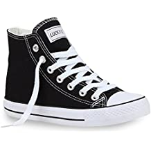 Damen Herren Unisex | Sneaker High Schnürer | Denim Sneakers Camouflage | Sportschuhe Turnschuhe Glitzer | Stoff Schuhe Übergrößen | Flandell®