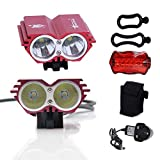 CDC® Waterproof 5000 Lumens XM-L U2 LED Bicycle Light 4 Modes Super Bright Bike Lamp Headlight with 8.4V Rechargeable Battery Pack and Charger for Camping, Cycling, Hiking, Riding - Red
