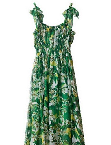 PU&PU Robe Aux femmes Gaine Street Chic,Imprimé Col en V Midi Polyester GREEN-XL