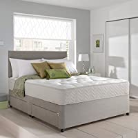 Grey Suede Memory Foam Divan Bed Set With Mattress And Headboard 3ft 4ft 4ft6 5ft 6ft Single Double Small UK King Super King