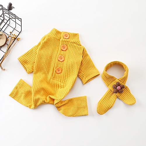 HUAIX petsuppliesmisc Herbst und Winter Neue Haustierbekleidung Casual Baumwolle Einteilige vierbeinige Kleidung Gestrickte Road Dog Kleidung (Color : Yellow, Size : L) -