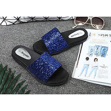 LvYuan Da donna Sandali PU (Poliuretano) Primavera Estate Piatto Oro Argento Fucsia Blu Meno di 2,5 cm Blue