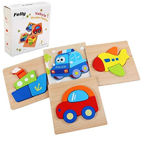 Felly Holzspielzeug, 3D Kinder Holzpuzzle Steckpuzzle Holz Montessori Spielzeug Lernspielzeug Pädagogisches Geschenk für Kinder 1 2 3 Jahre,Weihnachten Geburtstag