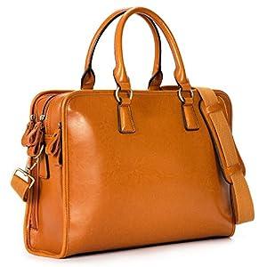 Kattee – Bolsa de trabajo de piel para portátil de 14 pulgadas con 3 compartimentos, color Marrón, talla Large