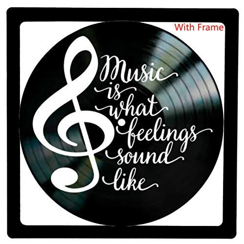 Letras de canciones personalizadas Álbum de vinilo Decoración de pared-Music is What Feelings Sound Like-El mejor regalo para Navidad, DJ (negro)