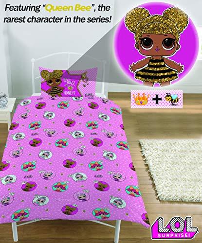 L.O.L. Sorpresa! Copripiumino singolo con federa LOL Sorpresa Glitterati Serie Confetti Pop LOL Biancheria da letto Reversibile design Queen Bee Dolls Glitter Pattern - 4