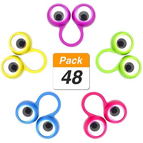 Xhuan - marionette a forma di occhio googly finger wiggly mappamondo oculare a dito giocattolo per le dita, per bomboniere di festa dei bambini, 5 colori