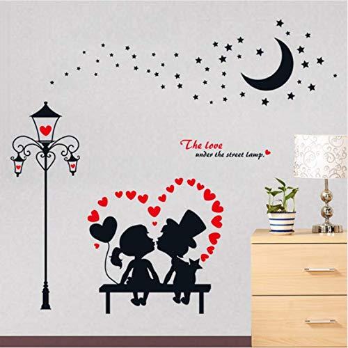 wubaiaiwo Style Européen Lampadaire Embrasser Fille Garçon Amour Stickers Muraux Noir Lune Étoiles Maison Couple Chambre Décor Amovible Mural Stickers