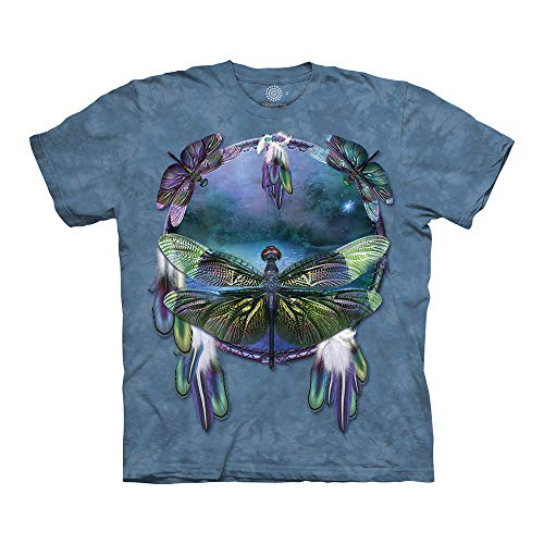 The Mountain Unisex-Erwachsene Dragonfly Dreamcatcher T-Shirt, blau, Small -