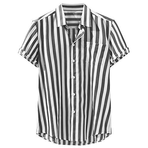 Knowin Mode Herren Brusttasche Kurzarm Rundsaum Lose Hemden Gestreifte Print Leinenbluse T-Shirt Oversize Blusen Casual Mann Short-Sleeve Hemd Stehkragen Top -