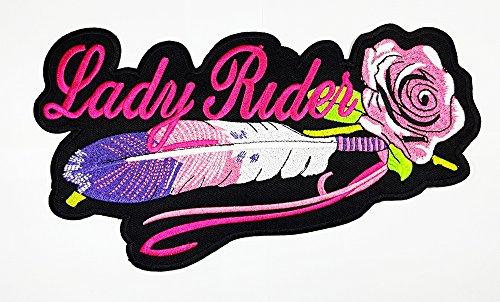 Feder Rose Patch Weste/Jacke Biker Patch Motorrad Fahrer Biker Tattoo Jacke T-Shirt Patch Sew Iron on gesticktes Schild Badge (Pink Ladys-jacken)